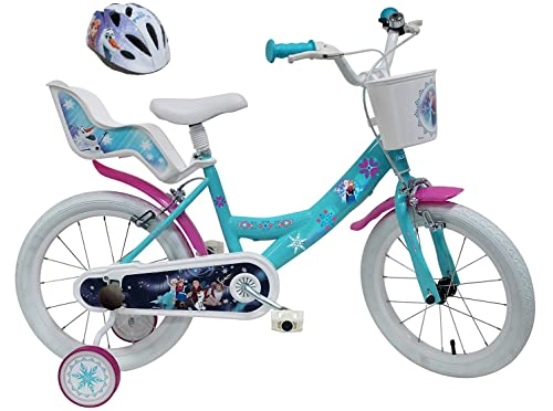 Disney Velo 16' Fille Frozen 2 Freins Porte Poupee AR + Casque, Bicicletta Bambini, Multicolore, 16'' (41 cm)