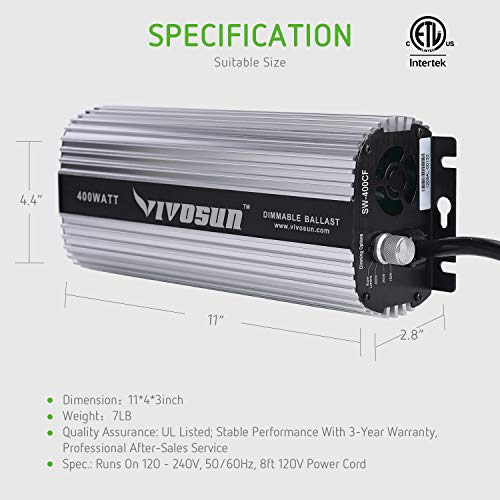 VIVOSUN Horticulture 600 watt Dimmable Digital Electronic Ballast for Hydroponic HPS MH Grow Light, UL Listed & Soft Start Protection (Space Gray)