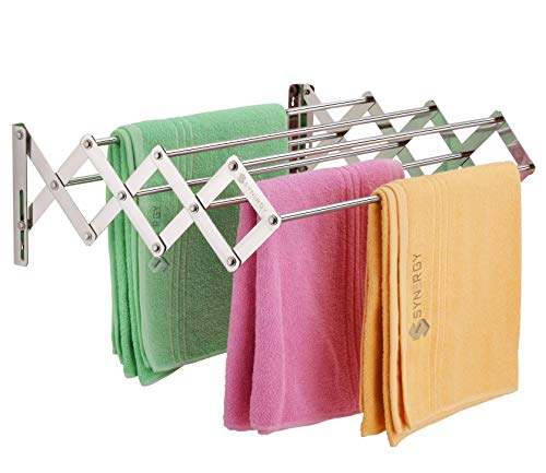 SYNERGY - Stainless Steel Foldable Wall Mounted Cloth Dryer/Clothes Drying Stand with Lifetime Warranty (7 Rods) [SY-CS3]