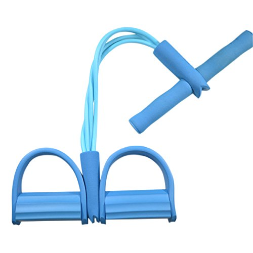 Libertepe Multifunktionale Bauchtrainer Fußpedal Fitnessband Resistance Elastisch Trainingexpander 4 Röhren Bands in Verschiedenen Farben