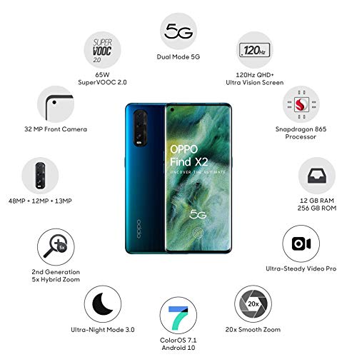 OPPO Find X2 (Ocean, 12GB RAM, 256GB Storage) with No Cost EMI/Additional Bank Offers
