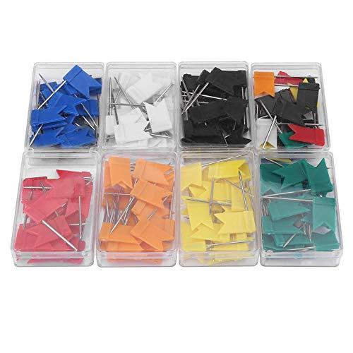 Vlaggen-reiskaart push pins, kaart flashpin takken plastic kop met stalen punt voor kurk, 8 kleuren