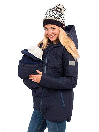 Viva la Mama 3in1 Umstandsjacke Winter Tragejacke warm gefütterte Jacke Damen 3in1 Kängurujacke Nevada Marine blau - XL