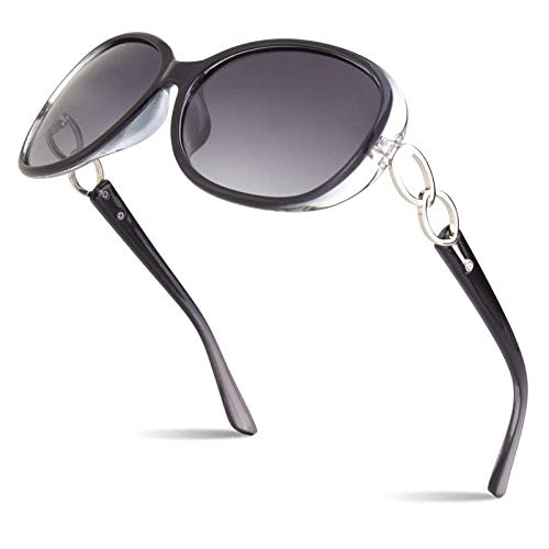 Sunier - Gafas de sol polarizadas para mujer, estilo retro, gran tamaño, 100% UV S85