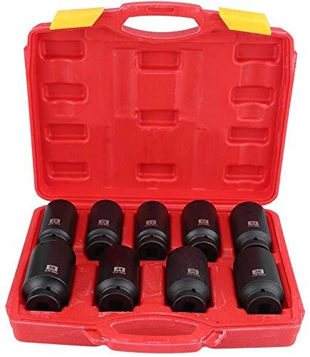 Juego de Llaves de Vaso de Impacto Profundo de Pulgada Profesionales, Vaso de Impacto, Spline Socket Bit Set juego de 29 mm, 30 mm, 31 mm, 32 mm, 33 mm, 34 mm, 35 mm, 36 mm, 38 mm