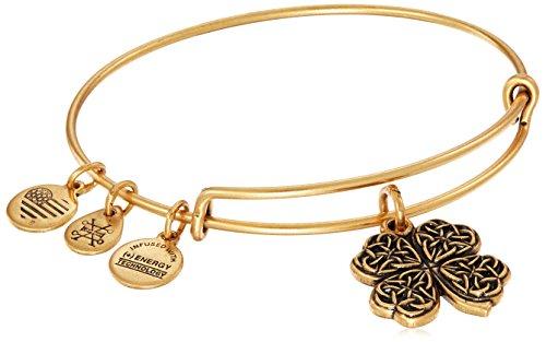 Alex and Ani Four Leaf Clover IV Rafaelian Gold Bangle Bracelet