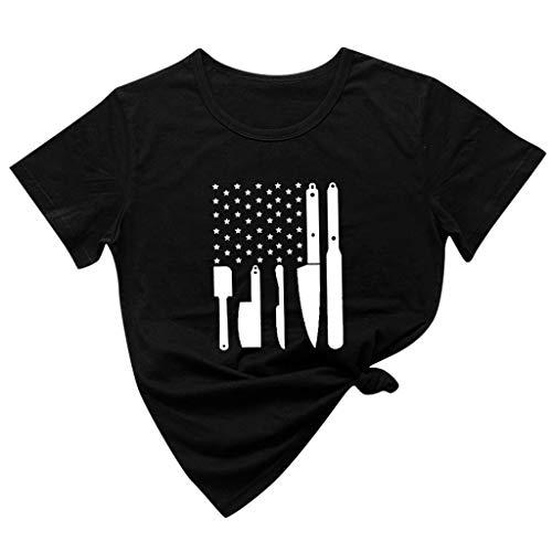 Xniral T-Shirt Damen Messermusterdruck Regular Fit Kurzarm O-Hals Streetwear Shirt Baumwolle Sternenbanner Lustige Bluse Tops(a-Schwarz,L)