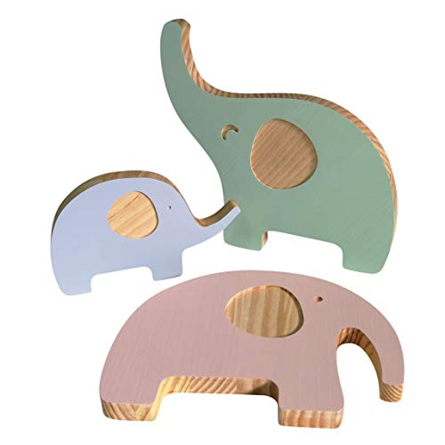 Like Elephants - Decoración para Habitación, Elefantes de Madera Color Pastel.