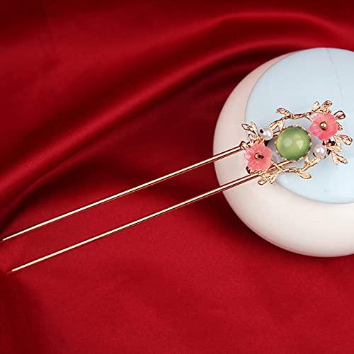 Haarstäbchen,Haarstick Haarnadel Retro Chinesische Klassische Essstäbchen Gabeln Sakura Blumenzweige Nachahmung Perle Eingelegte Jade Zarter Schmuck Haarschmuck Für Frauen Langes Haar Brautparty,