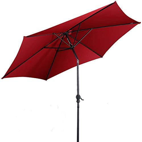 Giantex 10ft Outdoor Patio Umbrella, Market Table umbrella w/Tilt Adjustment and Crank, 180G Polyester, Garden Canopy for Deck Backyard Pool Indoor Outdoor