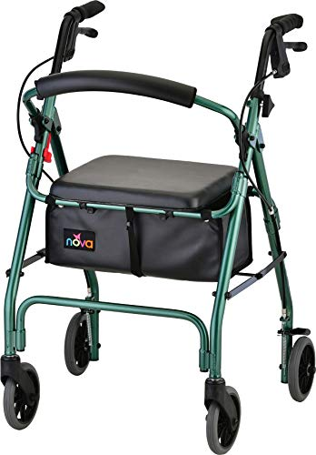 """NOVA Medical Products GetGo Classic Rollator Walker (Standard Size), Rolling Walker for Height 5'4"""" - 6'1"""", Seat Height is 22.25"""", Color Green"""