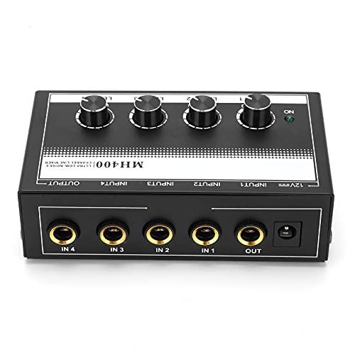 Mini mezclador de línea de 4 canales, mezclador de línea de 4 canales profesional ultracompacto MH400 Metal Negro para escenario para karaoke para conciertos en vivo(rosado)