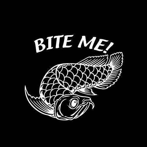 Aileal Auto-Aufkleber, 18,2 cm x 15,8 cm, Bite Me Arowana Fisch-Aufkleber fürs Auto, Vinyl, Motorrad, Dekoration, Aufkleber (Farbe Name: Silber) aileal (Größe : Silber)