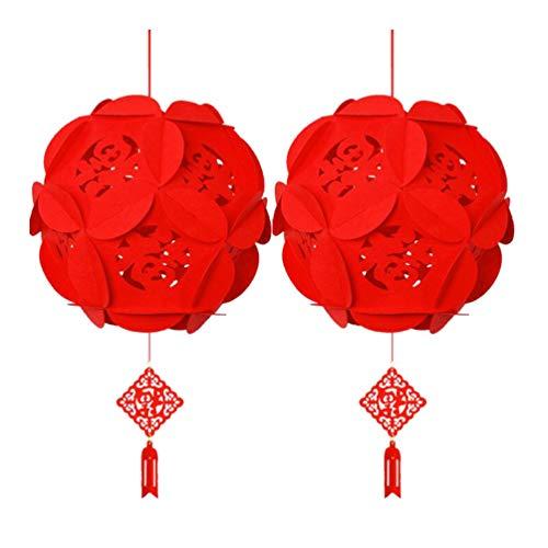 SOLUSTRE 2 Stück Chinesische Laterne Ornament Rote Chinesische Knoten Handgemachte Quasten Fu Charakter Hängende Dekorationen Chinesisches Frühlingsfest Traditionelle Orientalische