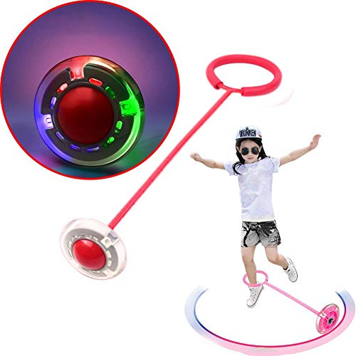 CHERRYSONG Flashing Skip Ball(No Battery is Needed),Jumping Ball,Ankle Swing Ball Toy - Improve Coordination, Get Exercise The Fun Way - Playground Ball Best Retro Birthday Gift for Kids