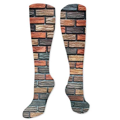 Wall Stone Brick Background Texture Wallpaper Socks Fun Socks Men's Over-The-Calf Socks Women Best Graduated Athletic Running Customized