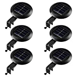 RIMARUP LED Solar Gutter Lights Outdoor 9LED 6Pack Fence Roof Gutter Garden Yard Wall Lamp with Auto On/Off Cool White