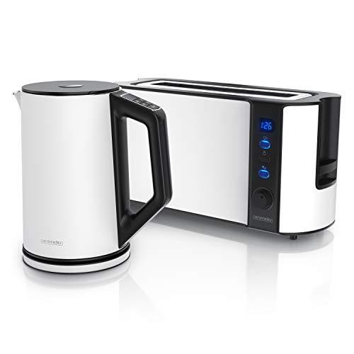 Arendo - Edelstahl Wasserkocher mit Temperaturauswahl + Edelstahl Toaster Langschlitz 2 Scheiben mit Brötchaufsatz - Wasserkocher im Doppelwanddesign - Küchen Set - weiß matt