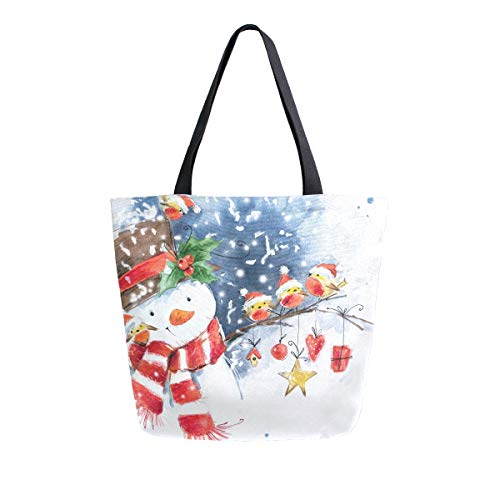 Naanle Christmas Canvas Tote Bag Large Women Casual Shoulder Bag Handbag, Watercolor Snowman Reusable Multipurpose Heavy Duty Shopping Grocery Cotton Bag for Outdoors.