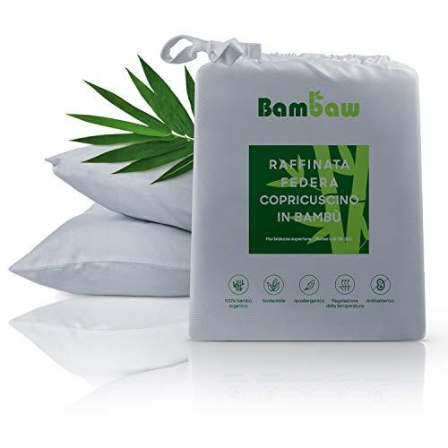 Bambaw Federa in bambù | Federe Cuscini da Letto | Federa rinfrescante Temperature Control | Copricuscino Anallergico | Federe Cuscini Eleganti | Tessuto Traspirante| Grigio - 50x75