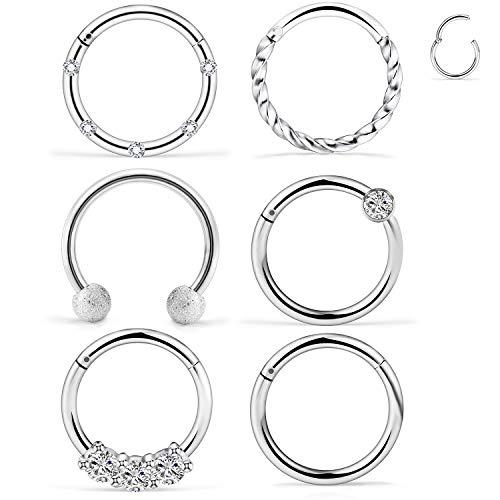 Ocptiy 16G 6PCS 316L Stainless Steel Septum Nose Rings Hoop Clicker Ring Lip Cartilage Tragus Helix Earrings Hoop Ring Piercing Jewelry Diameter 10MM