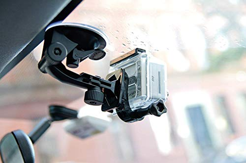 Suction Cup Car Mount Kit for Gopro Hero Cameras Hero8 Hero7 Hero6 DJI Osmo Action - Easily Mounts On Windshield- The Ideal Accessories Kit Bundled with Buckle Mount, Tether and Protective Bag