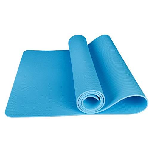 LITIAN Verdickte Anfänger Yoga-Matte TPE Verbreiterte Yoga-Matte Anti-Rutsch-Fitnessmatte (185 * 80 * 0,6 cm + Netto-Bag + Bündel Seil) Blue