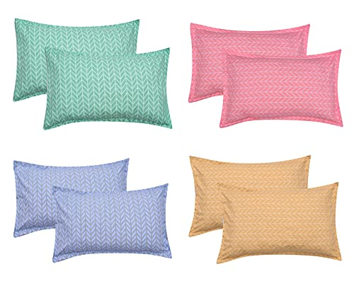 COZY FURNISH 200TC Super Soft Microfiber Cotton Printed Pillow Covers Set of 8 – (17″ x 27″ Inches, Pink)
