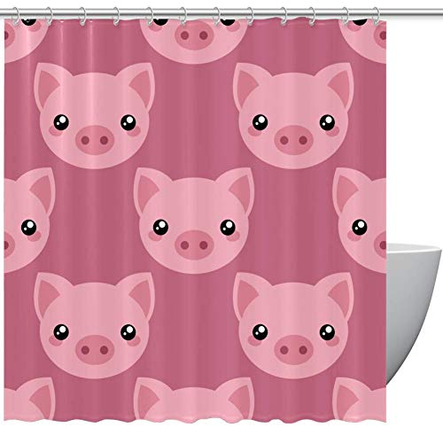 Bennigiry Duschvorhang mit Schwein-Gesicht, Polyester, 152,4 x 182,9 cm, schimmelresistent, antibakteriell, geruchlos, wasserdicht, dekorativer Badvorhang, Polyester, mehrfarbig, 66x72in
