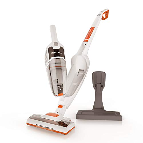 Cordless Vacuum Cleaner, Womow W18 2 in 1 Lightweight Handheld Stick Vacuum, 9000 pa Powerful Suction with LED Headlights for Hard Floors