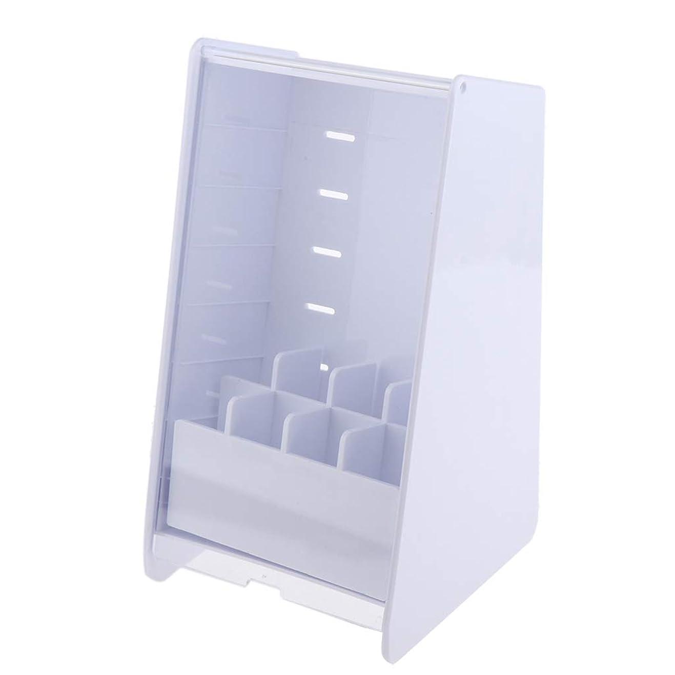 シングル保持バレルCUTICATE メイクボックス コスメボックス 化粧箱 化粧品 化粧道具入れ 収納ケース 蓋付き アクリル 全2色 - 白