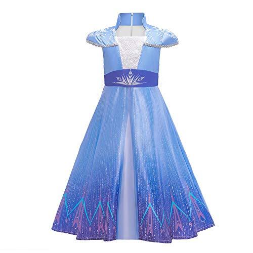 IWEMEK Disfraz de princesa Elsa Anna para niña, 2 unidades, disfraz de Frozen, disfraz de reina de las nieves, para Navidad, carnaval, fiestas, Halloween, 3-15 años 07 azul. 6-7 Años