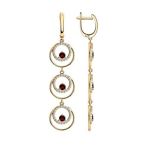 Mirkada - Pendientes de plata para mujer, chapados en oro con granate y circonitas, color rojo