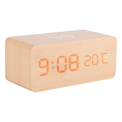 zcyg Reloj despertador de madera, reloj despertador digital LED de madera, control de voz, cargador inalámbrico de temperatura para teléfono (color madera)