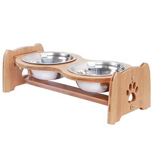 X-ZONE PET Raised Pet Bowls for Cats and Dogs, Adjustable Bamboo Elevated Dog Cat Food and Water Bowls Stand Feeder with 2 Stainless Steel Bowls and Anti Slip Feet (Height 4')