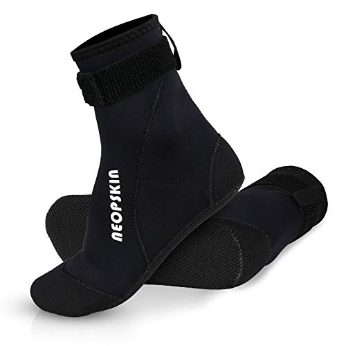 NeopSkin Neoprene Socks 3mm Beach Volleyball Sand Soccer Socks Water Booties for Diving Swimming Surfing Snorkeling Fishing Wading Kayaking Hiking Rafting, High Cut (Black 02-High Cut, Large)