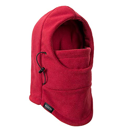 REDESS Kids Winter Windproof Hat, Unisex Children Heavyweight Balaclava, Ski Mask with Thick Warm Fleece Face Cover for Kids ?Wine Red?