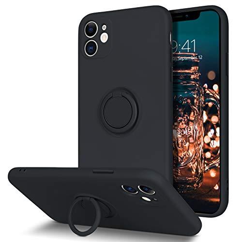 BENTOBEN iPhone 11 Hülle Silikon Case Mit Ring Halter Handschnur, iPhone 11 Handyhülle Slim Kratzfest Flüssigsilikon Gummi mit innem Microfaser Tuch Case Cover für iPhone 11 6.1\'\' Schwarz