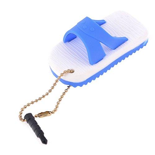 Blanco Azul Zapatilla de 3,5 mm colgante Jack anti del polvo del tapón del oído para el teléfono celular