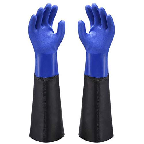 Waterproof PVC Coated Glove with Cotton Liner,Heavy Duty Latex Gloves, Resist Strong Acid, Alkali and Oil,Fishing Operation rubber Gloves-23'