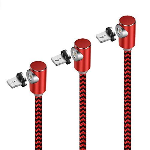 UGI Cavo di Ricarica Magnetico ad Angolo retto per Cavo a Forma di L, (1m + 2m + 3m) Cavo in Nylon Intrecciato per Phone X 8 7 7s 6 6s Plus 5s