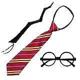 Disfraz de Mago Escolar,Gafas Negro de Marco,Varita mágica y Corbata para Adultos y Niños(Gafas Mago Pack Completo 2)