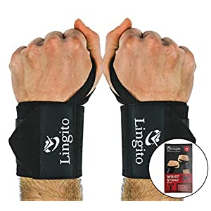 Lingito Wrist Wraps | Professional with Thumb Loops | Wrist Support Braces for Men & Women | Weight Lifting, Powerlifting, Strength Training