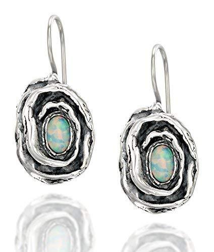 Vintage Style Rose Ohrringe in 925Sterling Silber mit Weiß Opal und Draht & Haken Erstellt sicheren Rücken