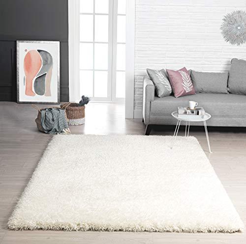 Mia´s Teppiche Lotte Moderner Weicher Hochflor (70 mm) Teppich, Weiß, 60x90 cm