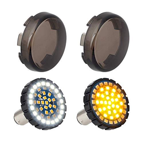 NTHREEAUTO 5,1 cm Bullet 1157 LED Blinker Licht, Motorrad Lauflicht, Switchback Front Birnen kompatibel mit Harley Street Glide, Sportster, Road King