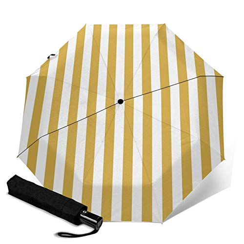 TravelFoldingUmbrella,Large Mustard Yellow and White Cabana Tent Stripe AutomaticTRIF-OldWindproofUmbrellaforWomenwithUVProtectionAutoOpen&Close