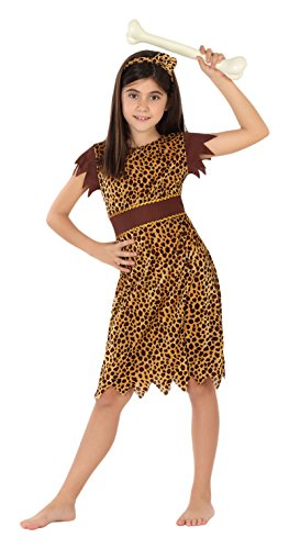 Atosa - Disfraz de cavernícola para niña, talla M, 5-6 años (111-28183)
