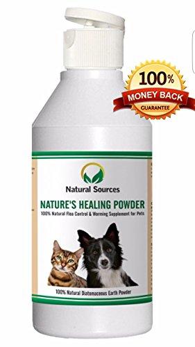 Polvo natural de curación de Natural Sources™, tratamiento de pulgas 100% natural para perros, gatos y casa. Se puede usar cerca de los ninos y otras mascotas y alrededor de la casa - Natural desparasitacion interna perros y gatos - Diatomaceous Earth Powder
