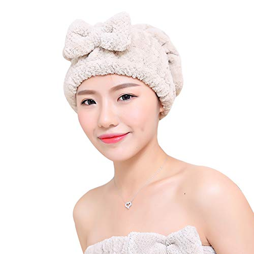 WFF sombrero Toalla de secado del cabello de la microfibra - Borra de ducha de la princesa del turbante absorbente de la princesa para las mujeres, la mágica del cabello instantáneo de la envoltura en